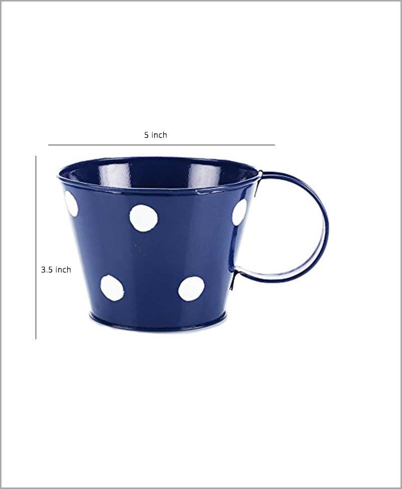 Metal Cup Polka Planter Blue