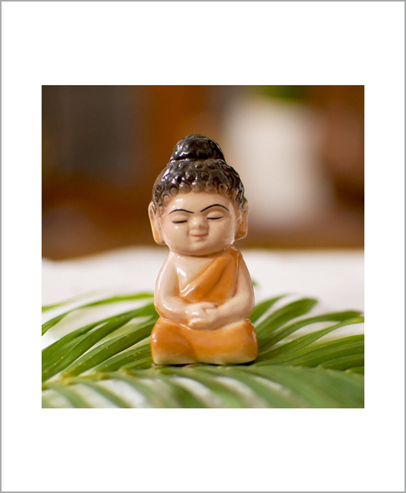 Garden Miniature Ceramic Buddha Brown