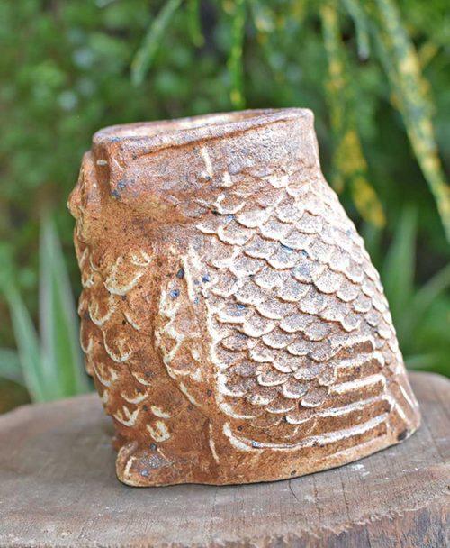 Ceramic Designer Owl Planter Brown Left