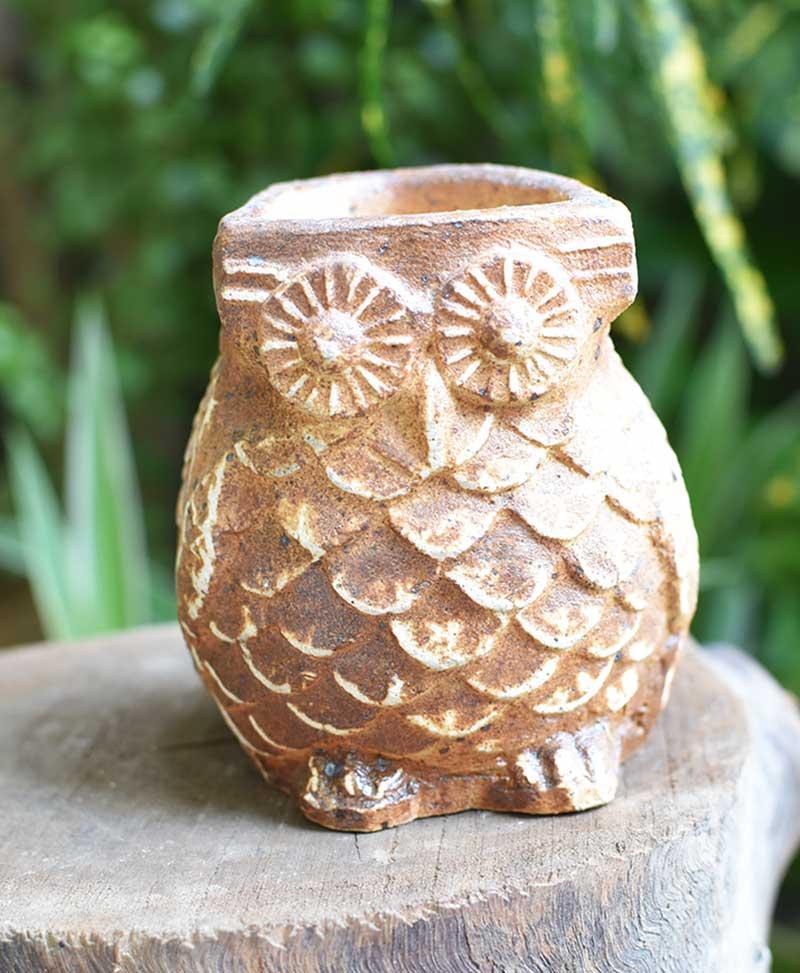 Ceramic Owl Planter Brown Color 4 inch