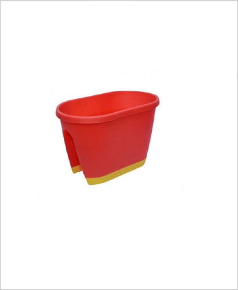 Buy Big Plastic 20 inch Railing Planter (Red Color)