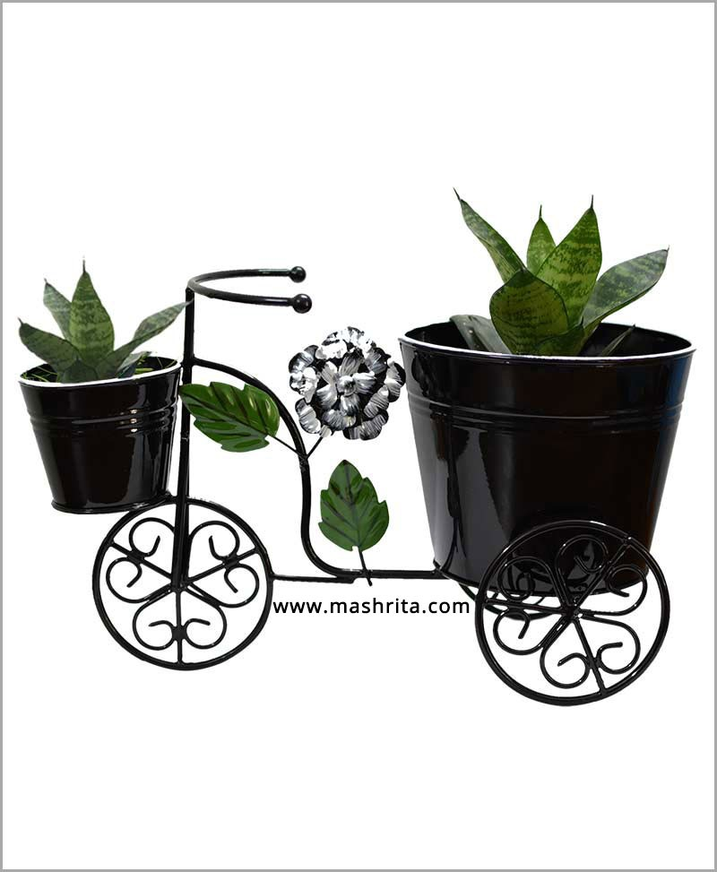 Buy Metal Big Cycle Planter Black