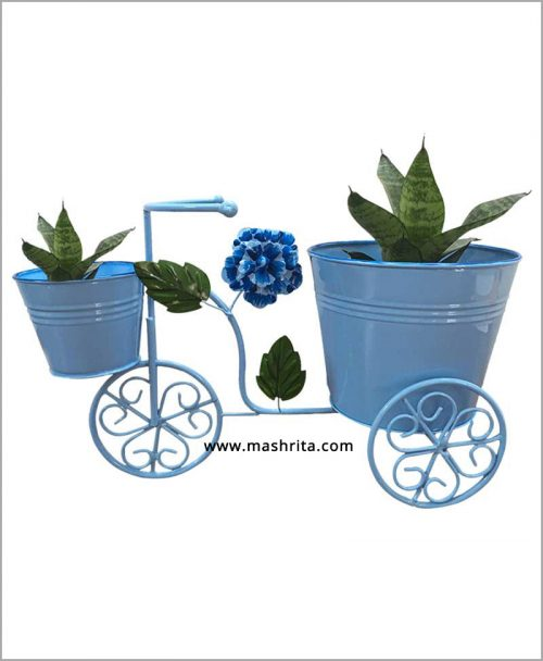 Buy Metal Big Cycle Planter Blue