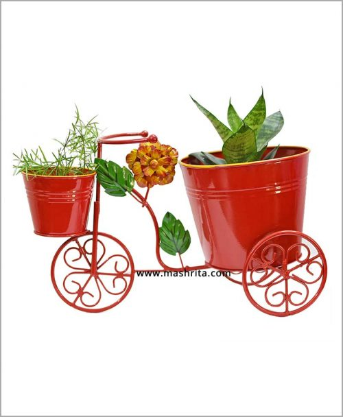 Buy Metal Big Cycle Planter Red
