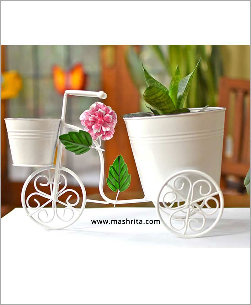 Buy Metal Big Cycle Planter White