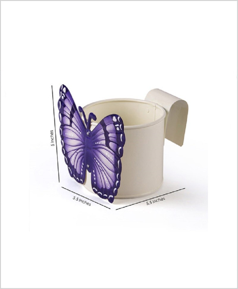 Metal Butterfly Planter White