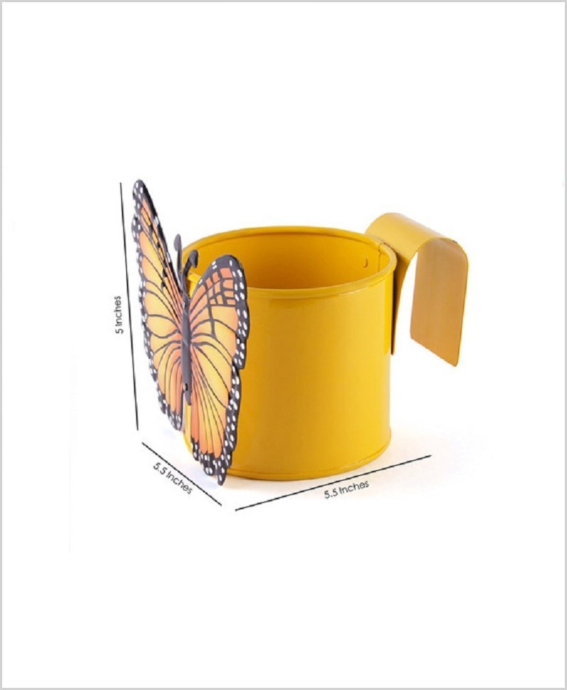 Metal Butterfly Planter Yellow
