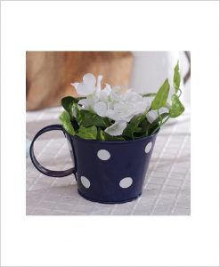 Buy Metal Cup Polka Planter Blue