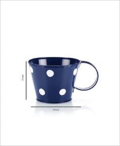 Buy Metal Cup Polka Planter Blue Dia