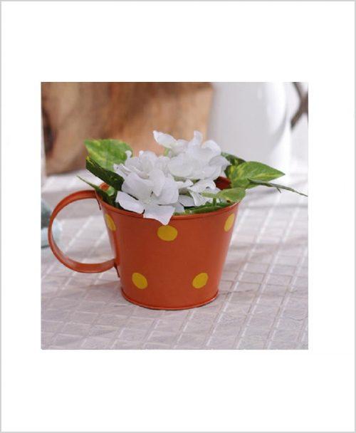 Buy Metal Cup Polka Planter Orange