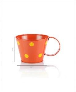 Buy Metal Cup Polka Planter Orange Dia