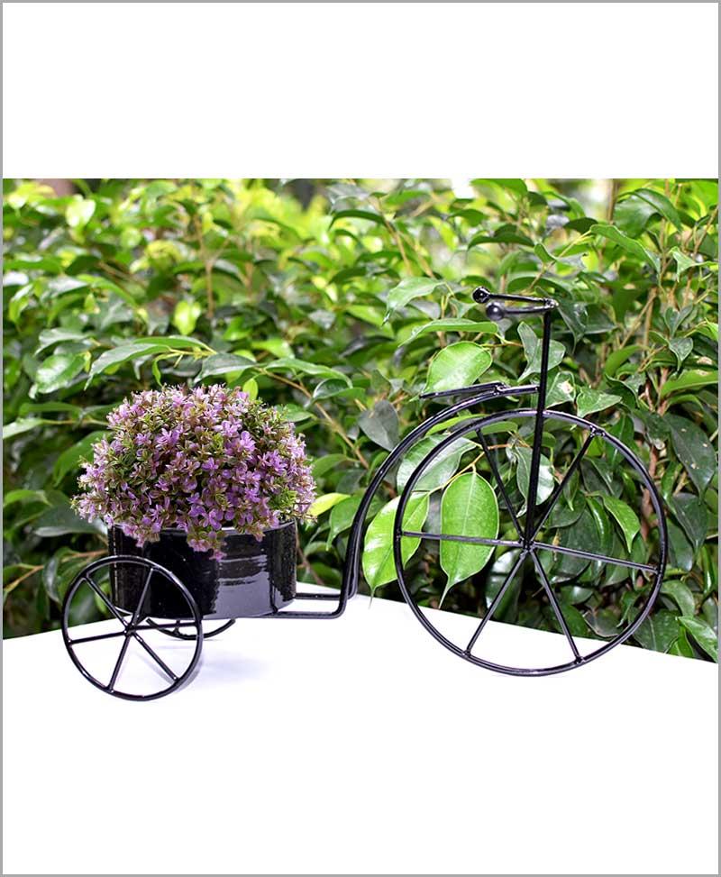 Buy Metal Cycle Planter Black