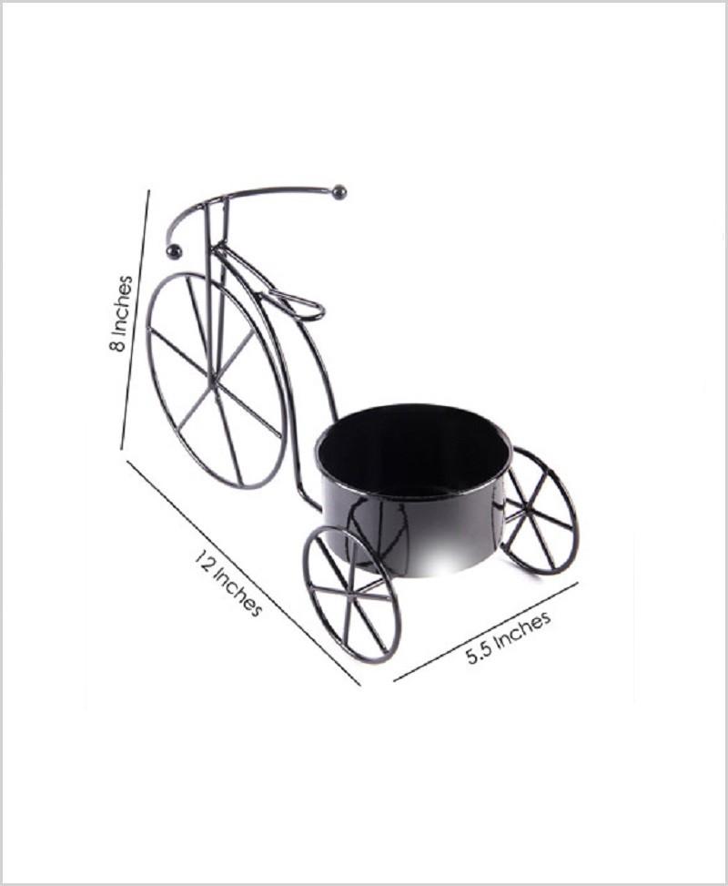 Metal Cycle Planter Black