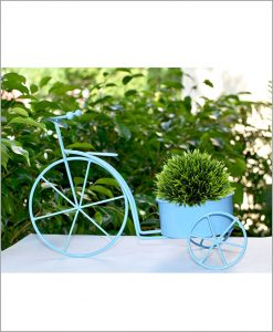 Buy Metal Cycle Planter Blue