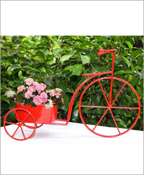 Buy Metal Cycle Planter Red