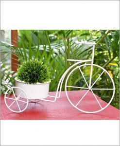 Buy Metal Cycle Planter White