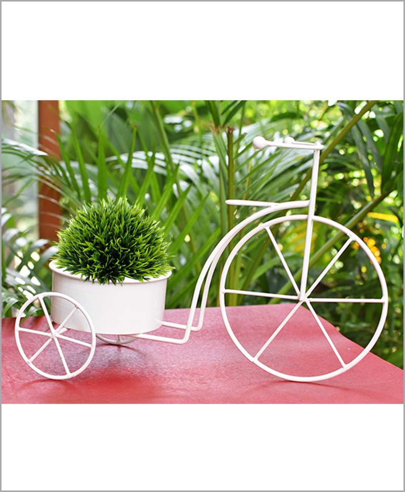 Buy Metal Cycle Planter White