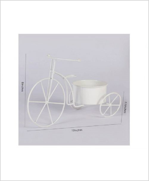 Buy Metal Cycle Planter White Dia