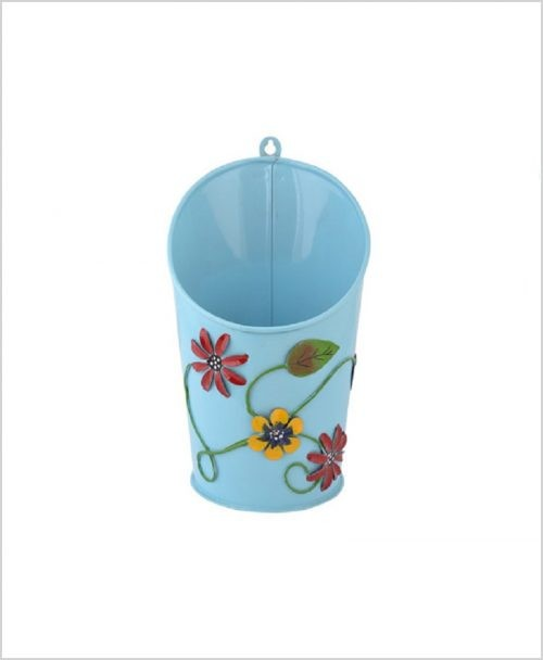 Buy Metal Half Moon Planter Blue