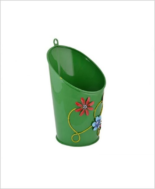 Buy Metal Half Moon Planter Green Dia