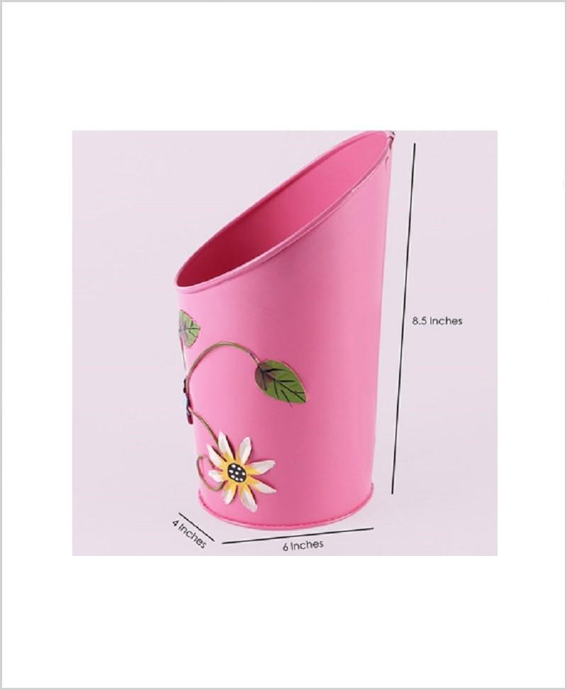 Metal Half Moon Planter Pink