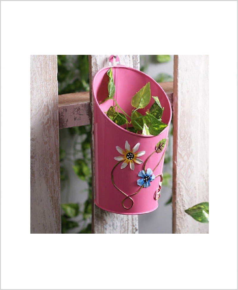 Buy Metal Half Moon Planter Pink