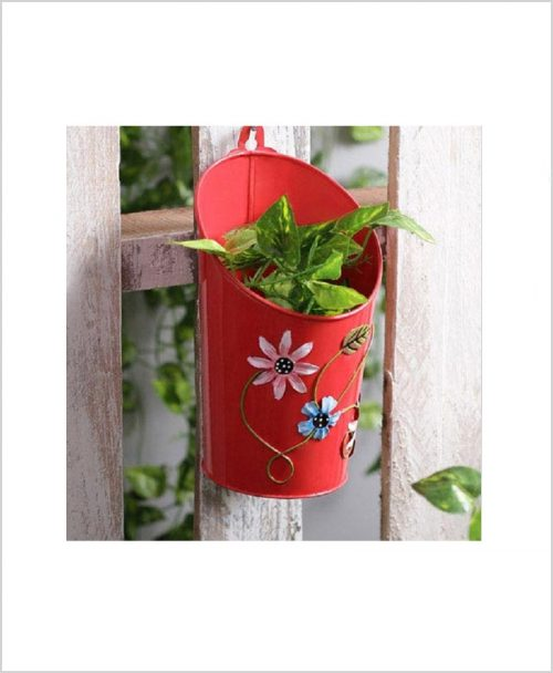 Buy Metal Half Moon Planter Red