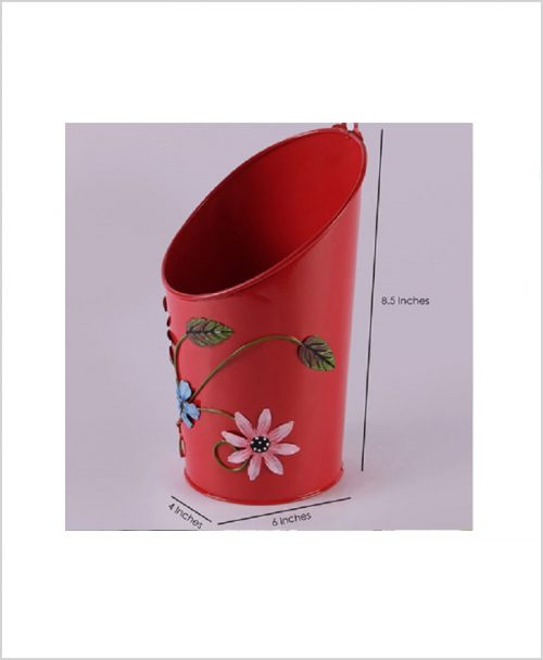Buy Metal Half Moon Planter Red Dia