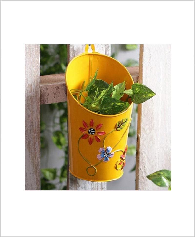Buy Metal Half Moon Planter Yellow