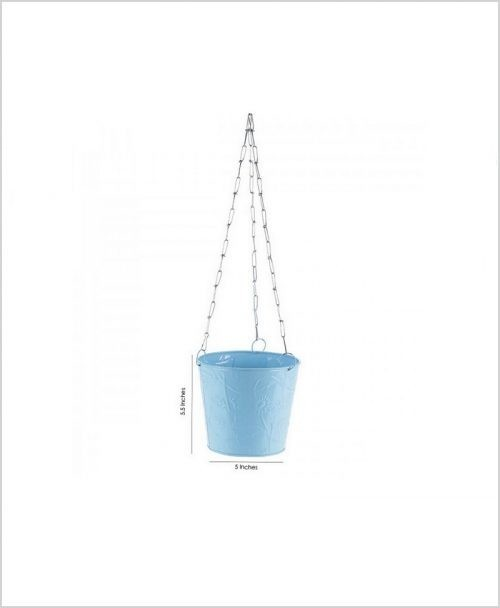 Buy Metal Hanging Bucket Planter Blue Dia