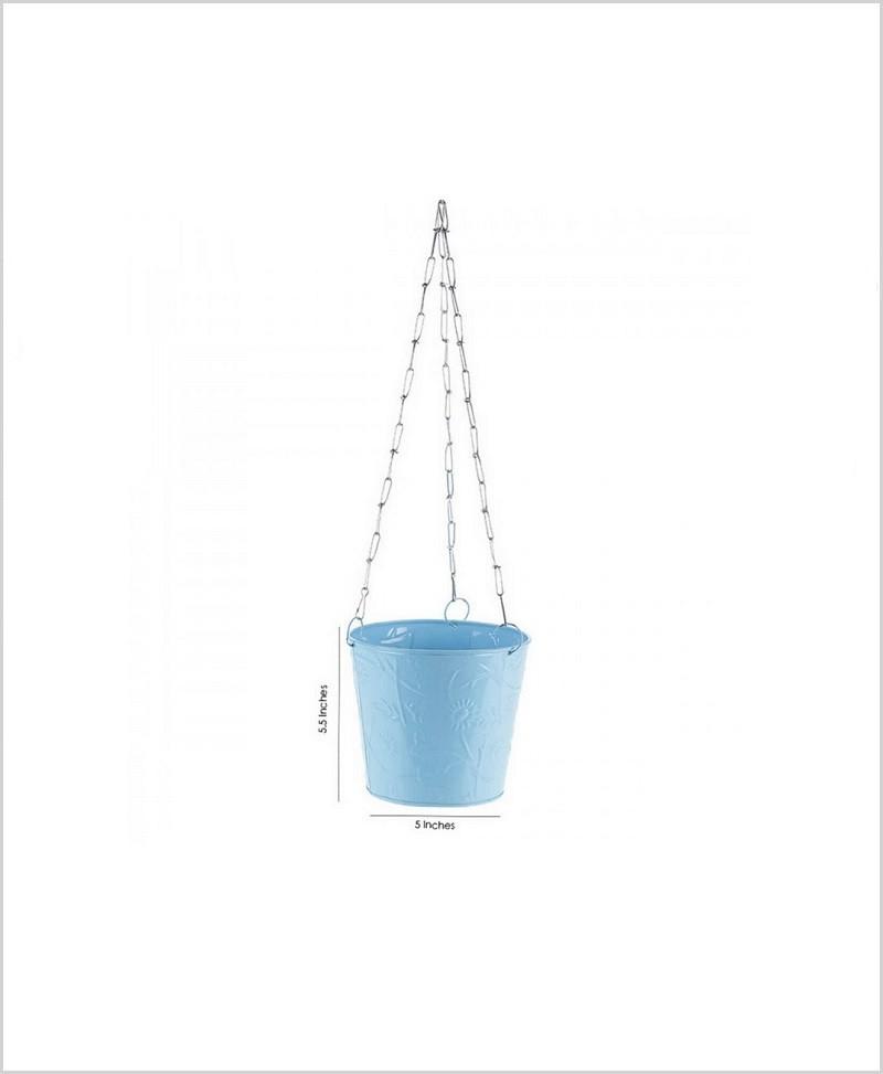 Metal Hanging Bucket Planter Blue