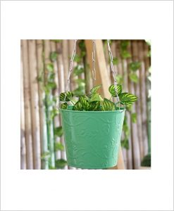 Buy Metal Hanging Bucket Planter Green