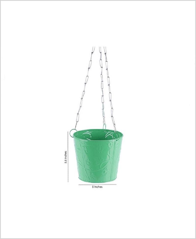 Metal Hanging Bucket Planter Green
