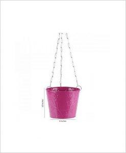 Buy Metal Hanging Bucket Planter Pink Dia
