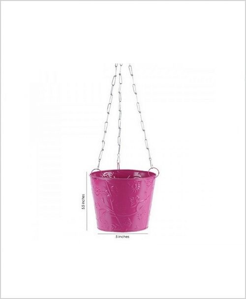 Buy Metal Hanging Bucket Planter Pink Dia