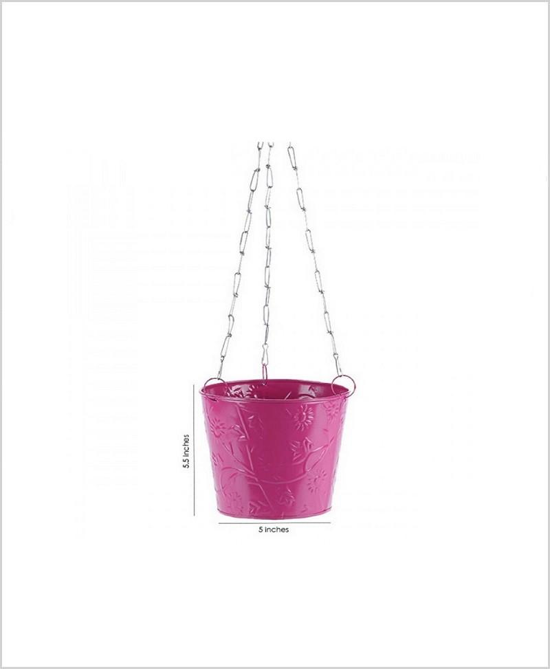 Metal Hanging Bucket Planter Pink