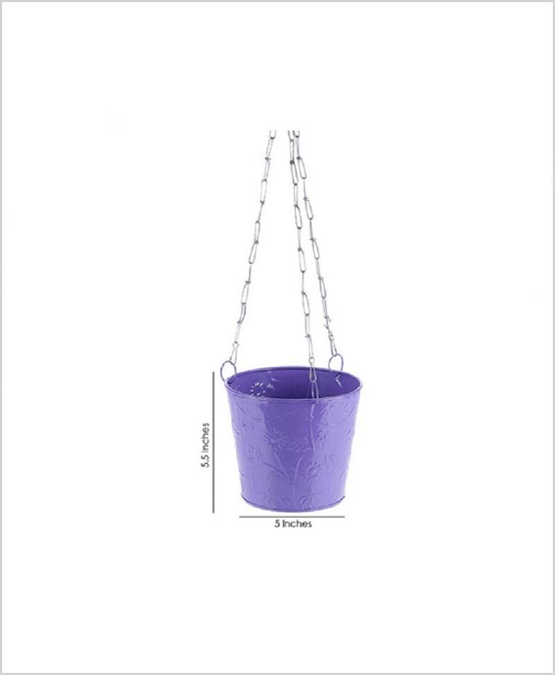 Metal Hanging Bucket Planter Puple