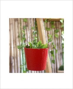 Buy Metal Hanging Bucket Planter Red