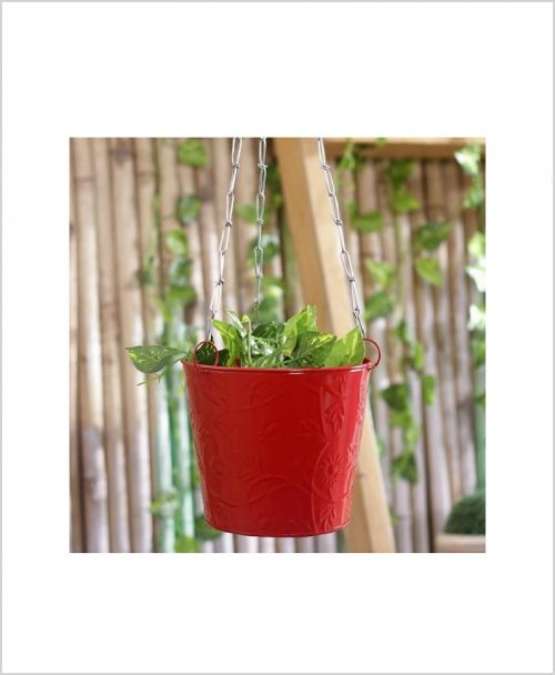 Buy Metal Hanging Bucket Planter Red