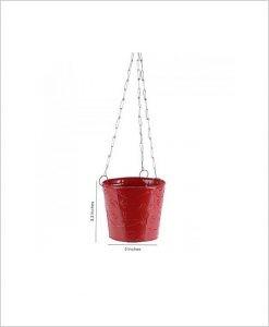 Buy Metal Hanging Bucket Planter Red Dia