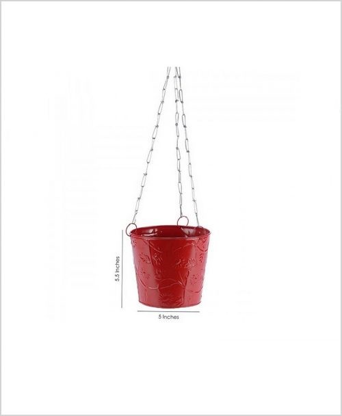 Buy Metal Hanging Bucket Planter Red Dia