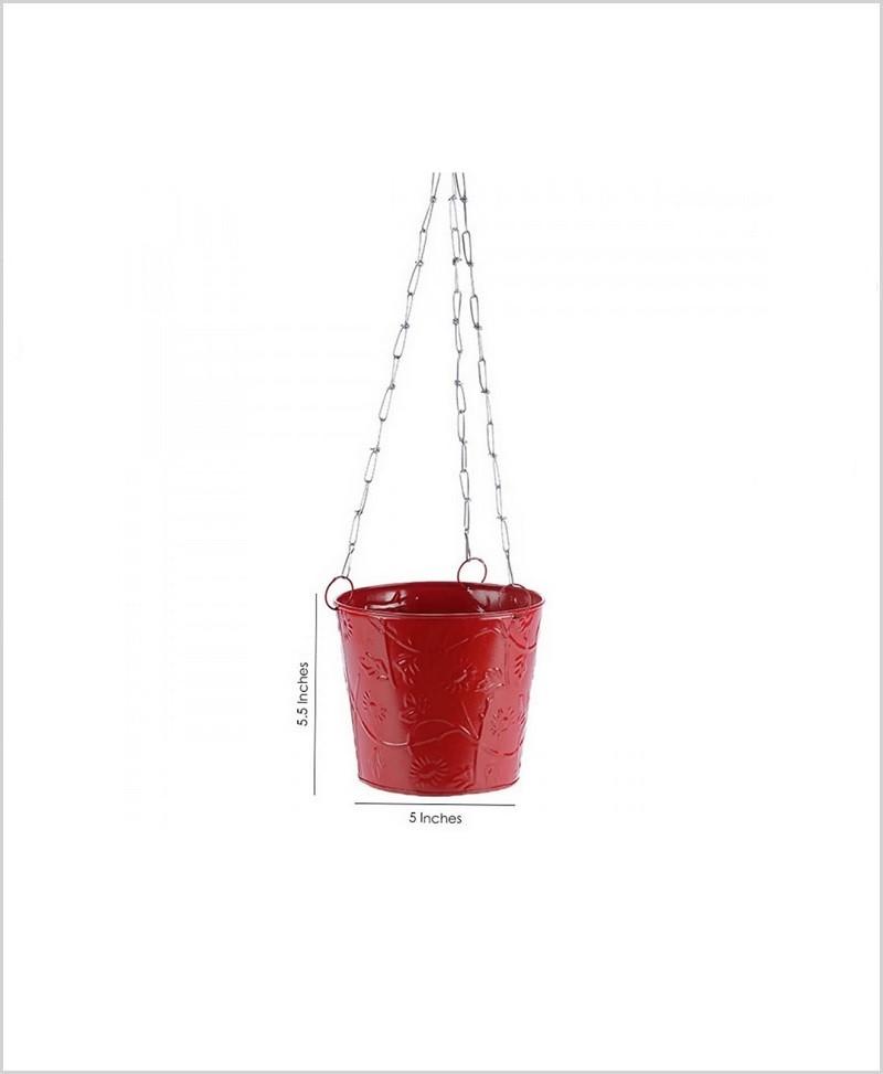 Metal Hanging Bucket Planter Red