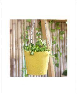 Buy Metal Hanging Bucket Planter Yellow