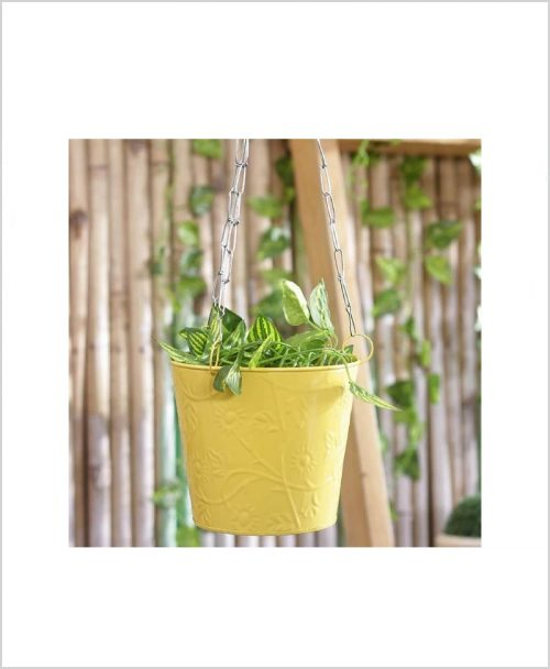 Buy Metal Hanging Bucket Planter Yellow