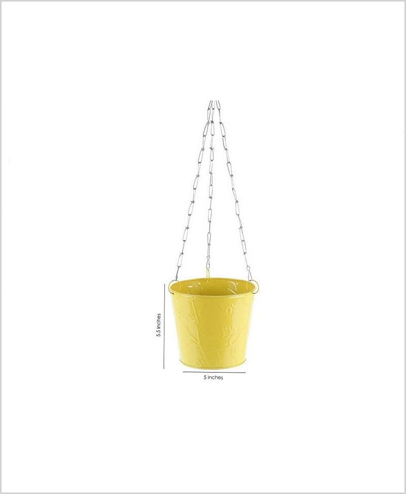 Metal Hanging Bucket Planter Yellow
