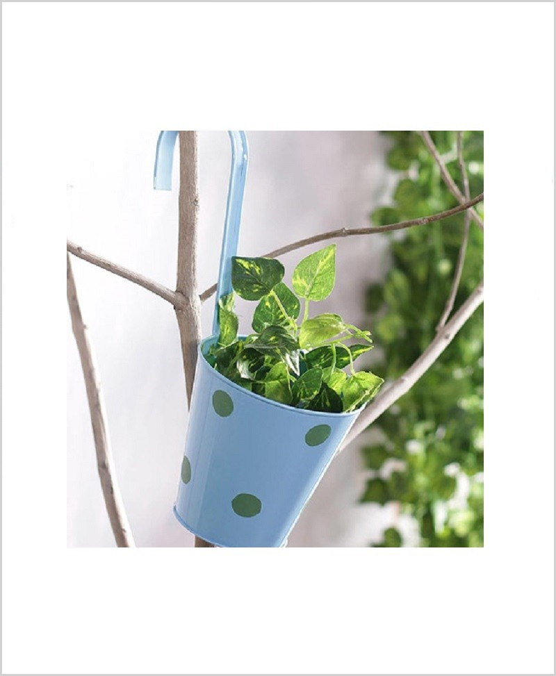 Buy Metal Hanging Polka Planter Blue