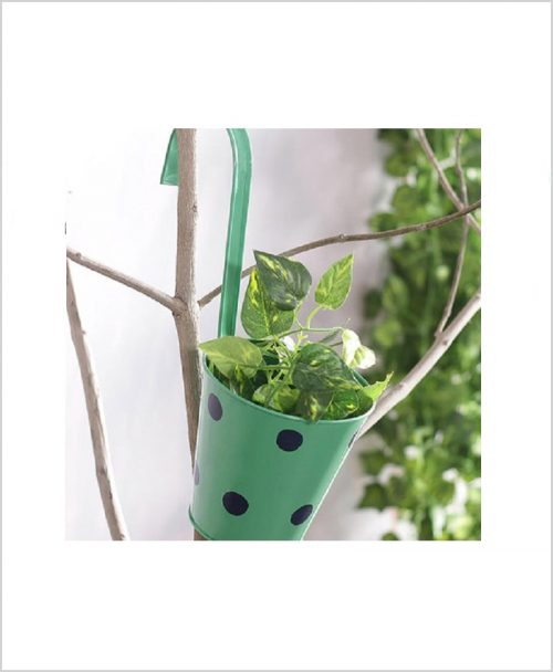 Buy Metal Hanging Polka Planter Green
