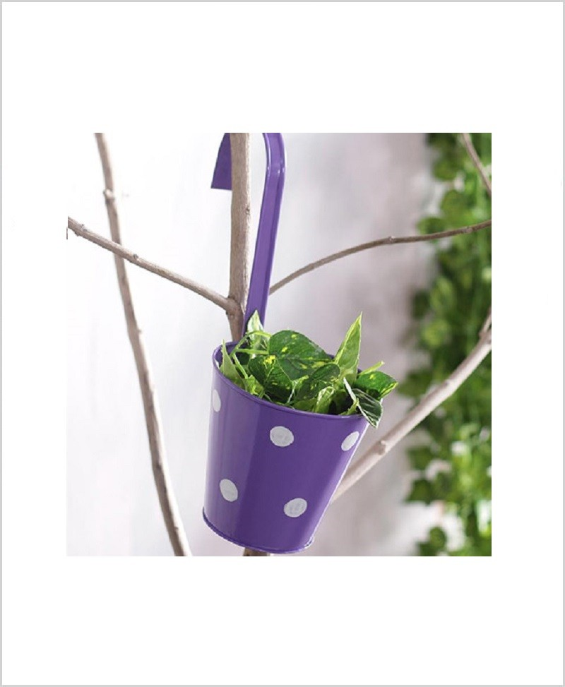 Buy Metal Hanging Polka Planter Purple