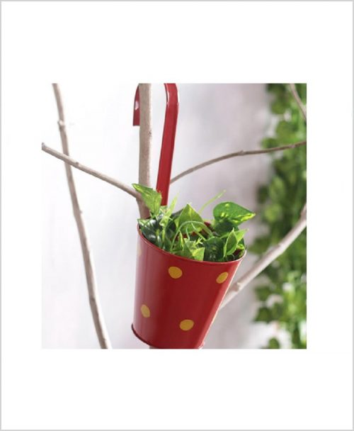 Buy Metal Hanging Polka Planter Red