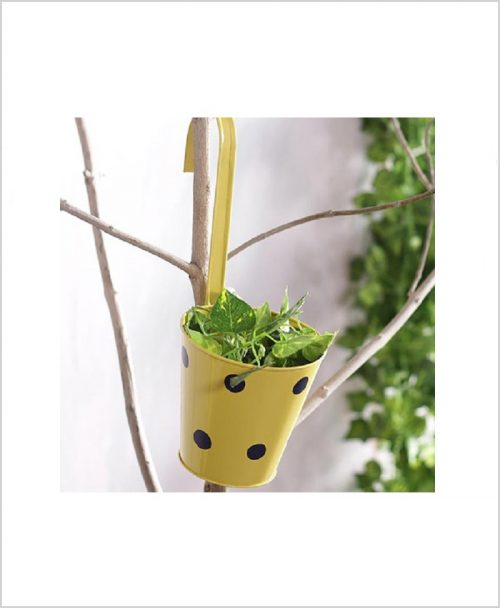 Buy Metal Hanging Polka Planter Yellow